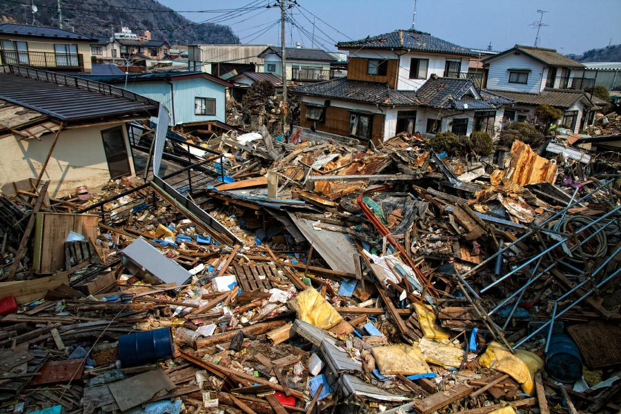 Townscape shoing destroyed houses after a tsunami