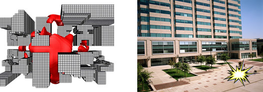 An aerial plan of a building showing blast impact, plus a photo of the building with a hypothetical blast marked