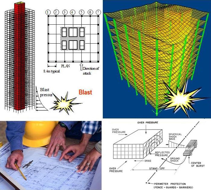 medley of images exploring blast pressure near buildings