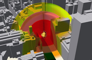 A 3d model of a city block with a blast location marked and radiating areas of impact