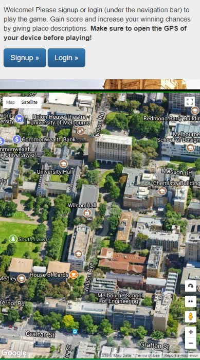 Phone screen shot of the place game showing the campus